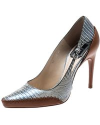 Dior - Tricolor Lizard Embossed Leather Native Cut Out Pointed Toe Pumps Size 37.5 - Lyst