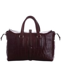 Mulberry Brown Croc Embossed Leather Roxette Bag