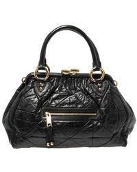 Marc Jacobs - Black Crinkled Leather Stam Satchel - Lyst