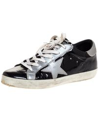 Golden Goose Deluxe Brand Black Patent And Grey Leather Hi Star Sneakers