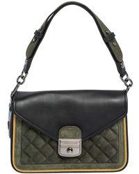 Longchamp Black/khaki Leather And Suede Le Pliage Heritage Top Handle Bag