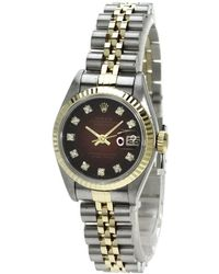 Rolex - Champagne Red 18k Gold And Stainless Steel Datejust 69173 Women's Wristwatch 26 Mm - Lyst