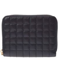 Celine Black C Charm Quilted Leather Clutch