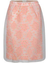 Louis Vuitton Floral Embroidered Detail Textured Skirt - Orange