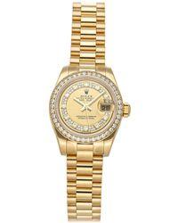 Rolex Champagne Diamonds 18k Yellow Gold Datejust 179138 Wristwatch 26 Mm - Metallic