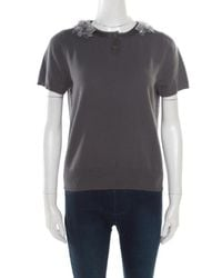 Marc Jacobs Grey Cashmere Wool Embellished Collar Detail Jumper Top