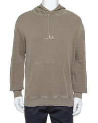 Saint Laurent - Khaki Cotton Distressed Washed Out Effect Hoodie - Lyst