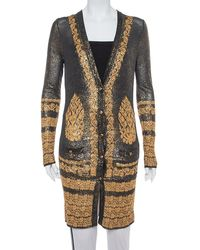 Chanel Black & Gold Printed Jacquard Knit Button Front Long Cardigan