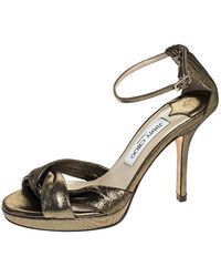 Jimmy Choo Bronze Lame Fabric Macy Open Toe Sandals - Metallic