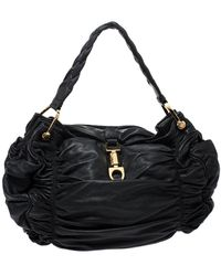 Bally Black Pleated Leather Hobo