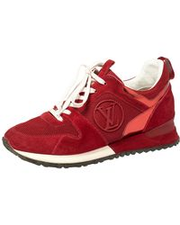 Louis Vuitton Red Suede Leather And Fabric Run Away Sneakers