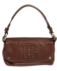 Givenchy Brown Leather Logo Embossed Flap Hobo