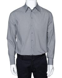 Giorgio Armani Monochrome Check Print Cotton Long Sleeve Shirt - Black