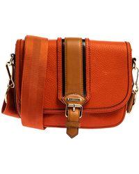 Burberry Burnt Orange Grained Leather Buckle Flap Shoulder Bag