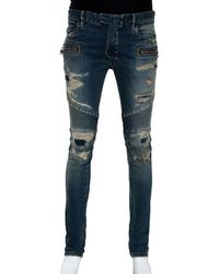 Balmain Blue Washed Out & Distressed Denim Biker Jeans