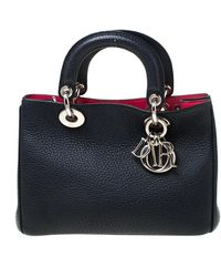 Dior - Navy Blue Pebbled Leather Mini Issimo Tote - Lyst