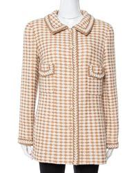 Chanel Vintage Beige Houndstooth Tweed Button Front Jacket - Natural