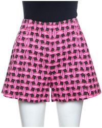 Louis Vuitton Pink & Brown Printed Denim Pleated Shorts S