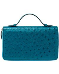 Gucci Turquoise Ostrich Travel Document Case - Blue
