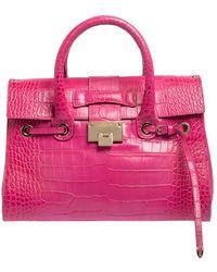 Jimmy Choo Pink Croc Embossed Leather Medium Rosalie Satchel
