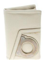 Ferragamo - Ivory Leather Bifold Wallet - Lyst