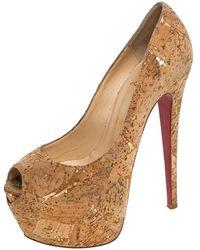 Christian Louboutin Beige Cork Highness Peep Toe Platform Court Shoes - Natural