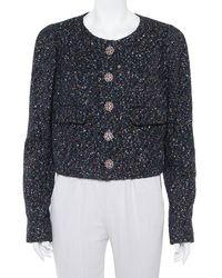Chanel Black Tweed Sequin Embellished Button Front Jacket