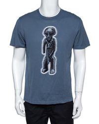 Louis Vuitton Stone Blue Cotton Zulu Statue Crew Neck T-shirt