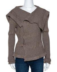 Givenchy Brown Chunky Rib Knit Asymmetrical Cardigan