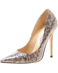 Jimmy Choo Light Grey Elaphe Leather Anouk Pointed Toe Court Shoes