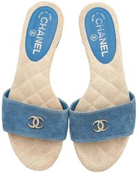 Chanel Blue Denim Slide Sandals