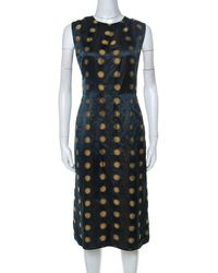 Marc Jacobs Green Polka Dot Jacquard Sleeveless Sheath Dress M