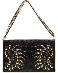 Roberto Cavalli Black Leather Studded Regina Chain Clutch Bag