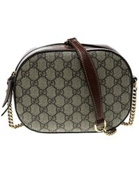 418bde99693 Gucci -  cognac GG Supreme Canvas And Leather Mini Chain Crossbody Bag -  Lyst
