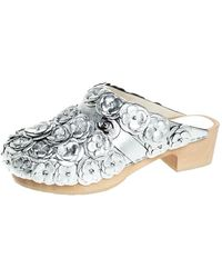Chanel Metallic Silver Camellia Embellished Cc Lock Wooden Clogs Size 38