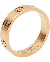 Cartier Love 18k Rose Gold Wedding Band Ring - Metallic