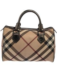 Burberry Beige/metallic Nova Check Pvc Chester Boston Bag - Natural