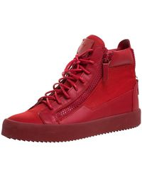 Giuseppe Zanotti Red Canvas And Leather London High Top Sneakers