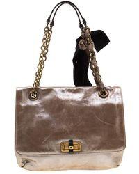 Lanvin Happy Metallic Leather Handbag