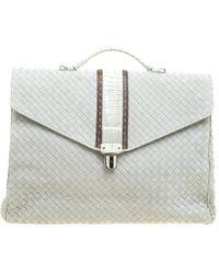 Bottega Veneta - Grey Intrecciato Leather Crocodile Trim Briefcase - Lyst