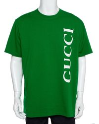 Gucci Green Logo Printed Cotton Crewneck T-shirt