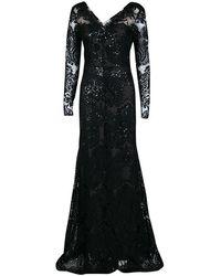 Marchesa notte Black Floral Applique Detail Embellished Embroidered Tulle Gown M