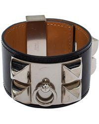 Hermès Hermès Collier De Chien Black Leather Palladium Plated Wide Bracelet