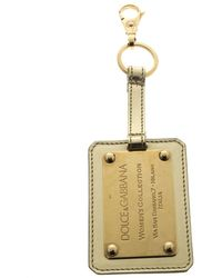 Dolce & Gabbana Metallic Leather Logo Plaque Keyring