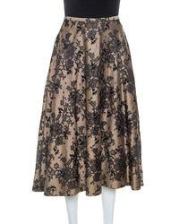 Celine Black And Beige Floral Silk Jacquard Flared Skirt