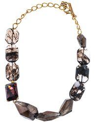 Oscar de la Renta Quartz Glass & Crystal Gold Tone Beaded Collar Necklace - Metallic