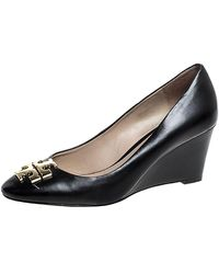 Tory Burch Black Leather Raleigh Round Toe Wedge Court Shoes