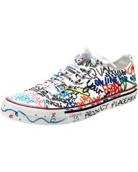 Vetements White Graffiti Canvas Low Top Trainers