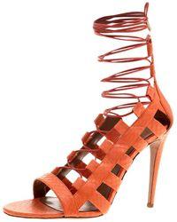 Aquazzura - Orange Python Leather Amazon Lace Up Open Toe Sandals Size 40.5 - Lyst