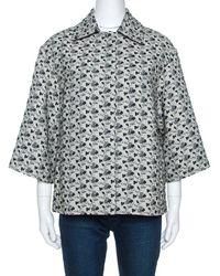 Louis Vuitton Monochrome Floral Jacquard A Line Jacket - Gray